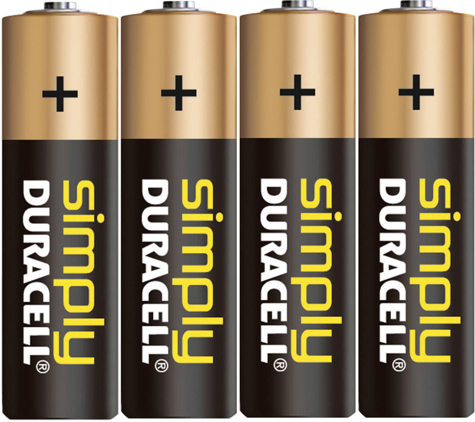 Tužková batéria typu AA alkalicko/mangánová Duracell Simply LR06, 1.5 V, 4 ks