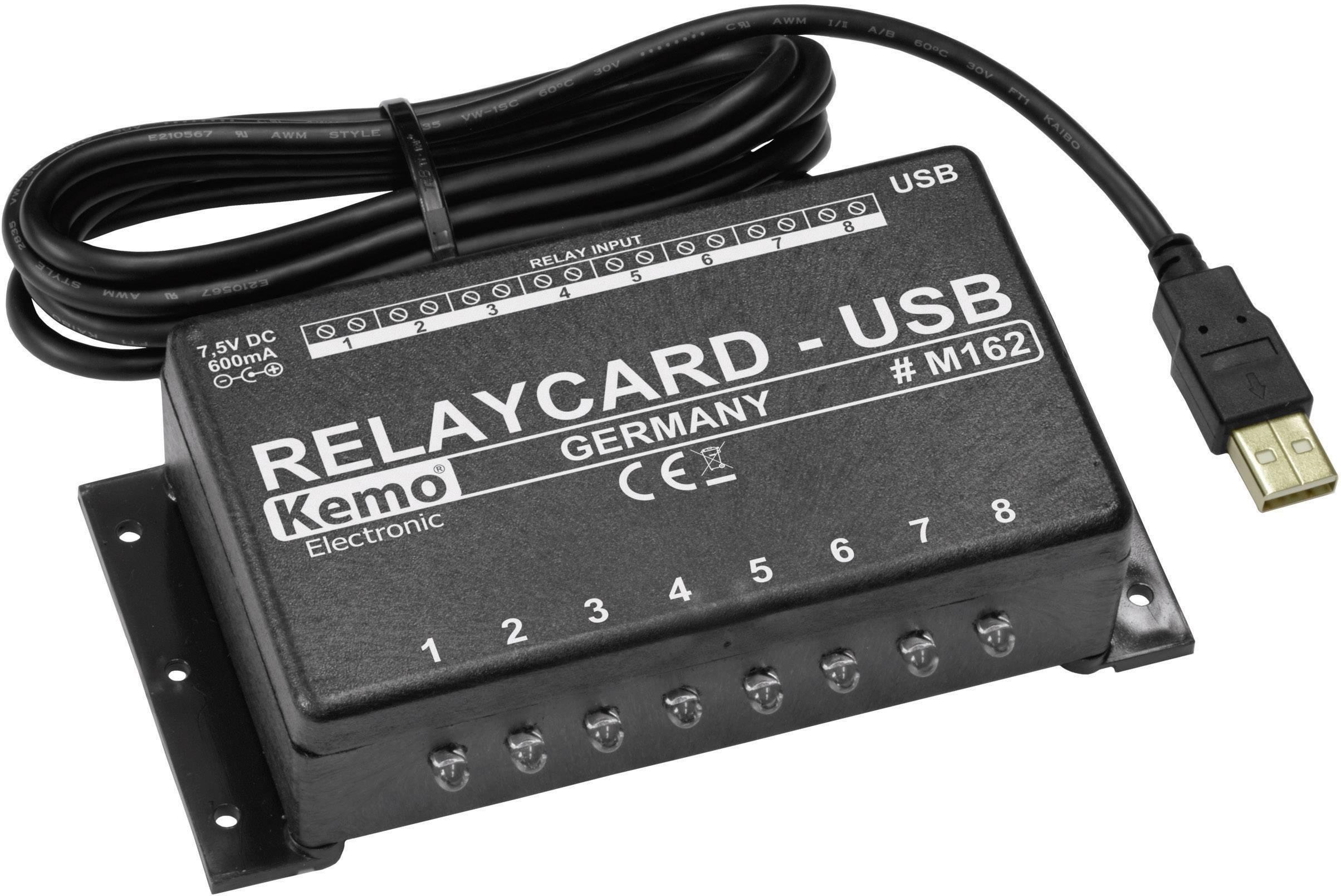 USB reléový modul Kemo M162, 120 x 75 x 35 mm