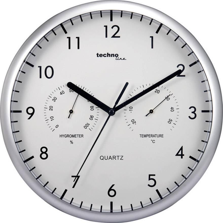 Analógové nástenné hodiny s teplomerom a vlhkomerom Techno Line WT 650, 26 cm