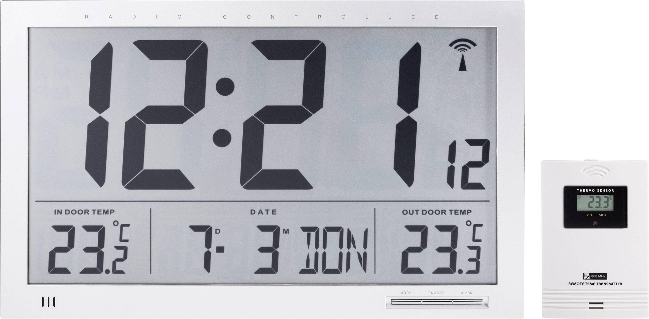 Digitálne nástenné DCF hodiny Jumbo s vonkajšou teplotou