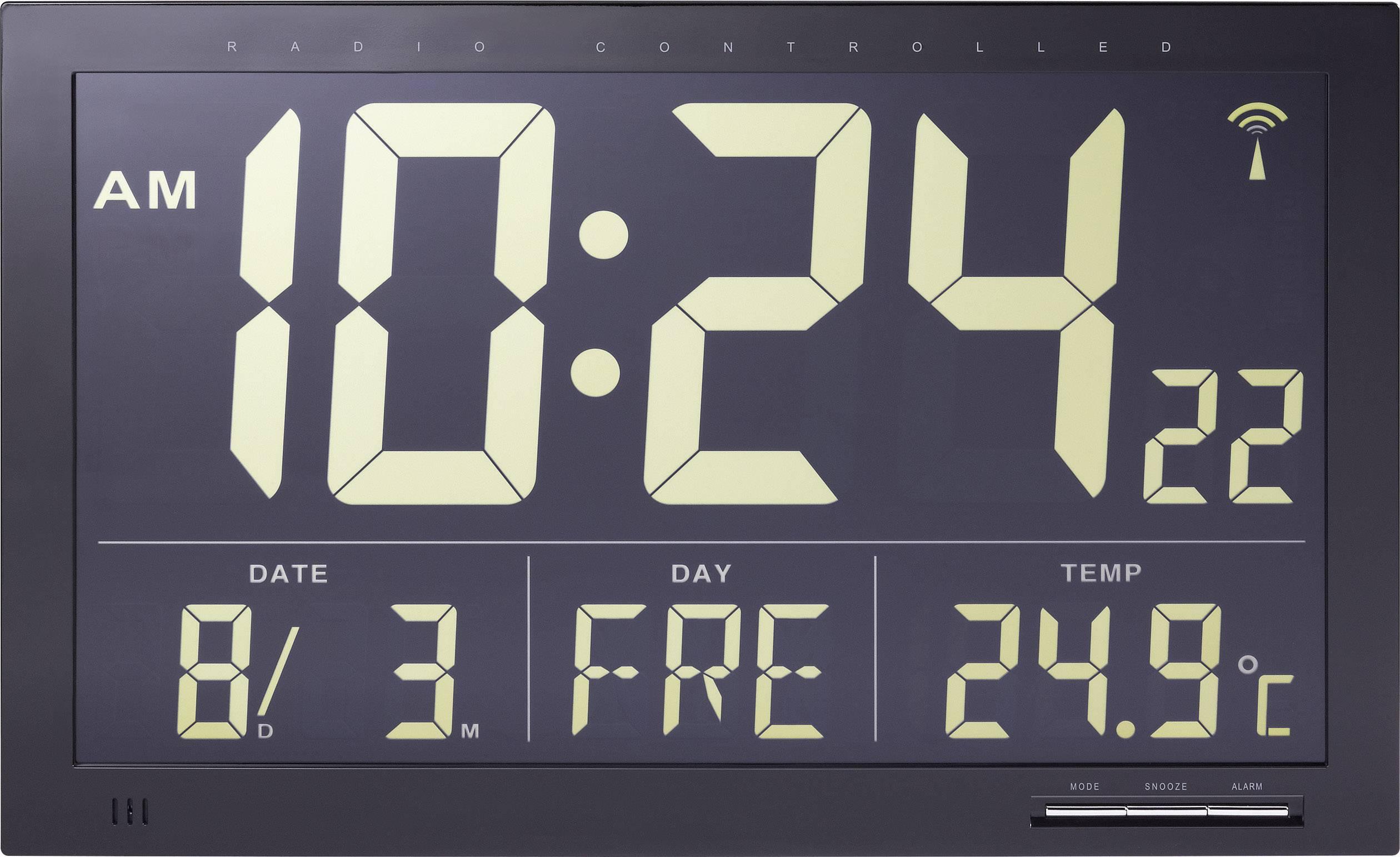 Digitálne nástenné DCF hodiny Jumbo s vnútornou teplotou