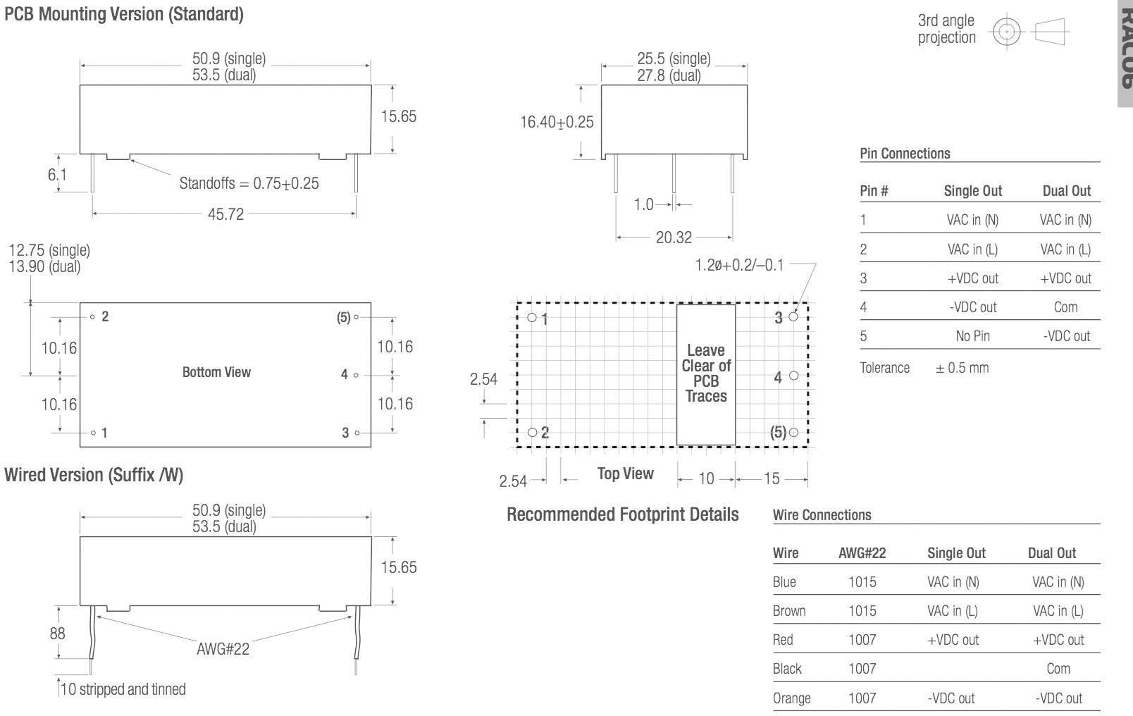 Sieťový zdroj do DPS Recom International RAC06-12DC, 12 V/DC, 0,25 A, 6 W