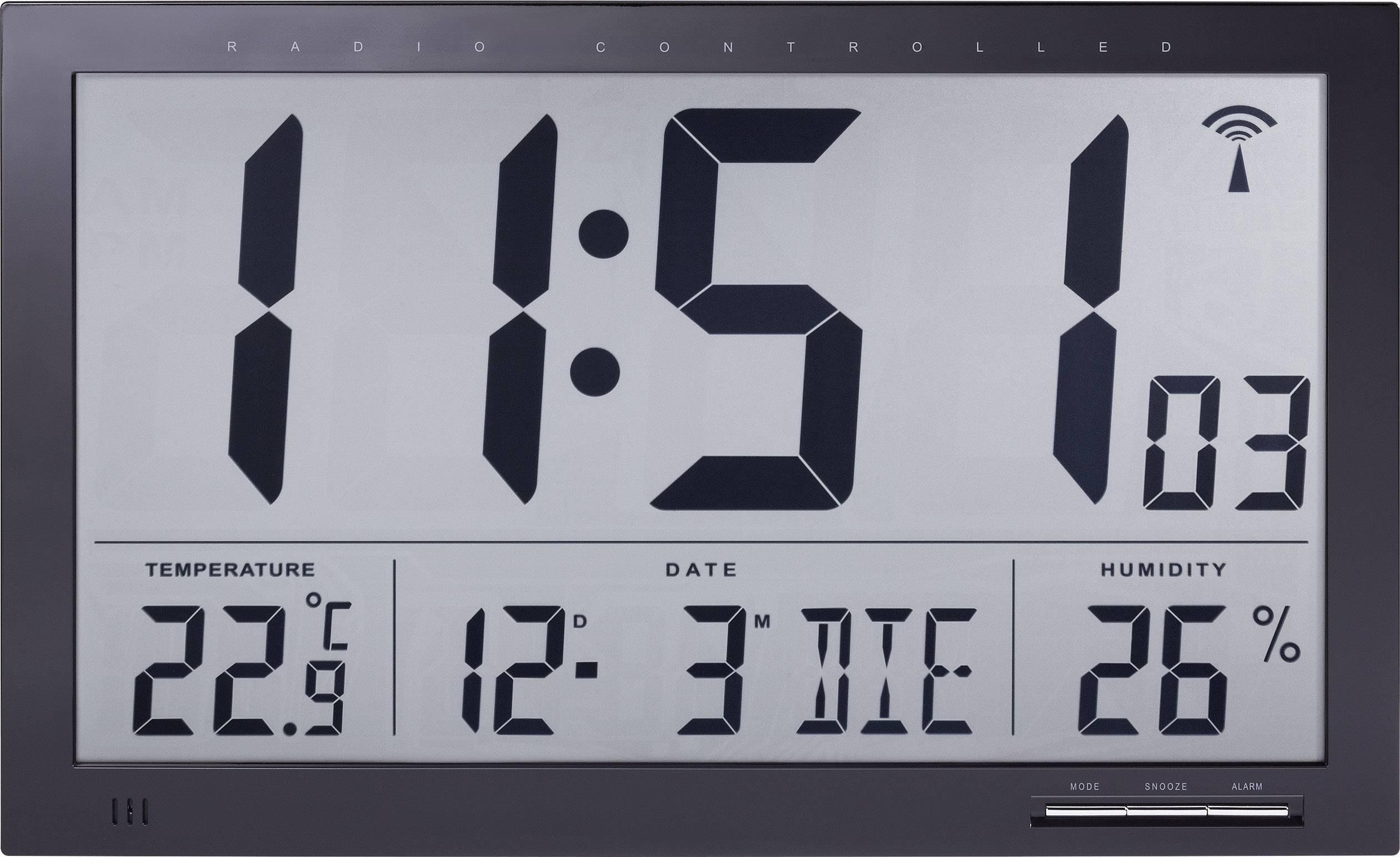 Digitálne nástenné DCF hodiny Jumbo s teplomerom a vlhkomerom