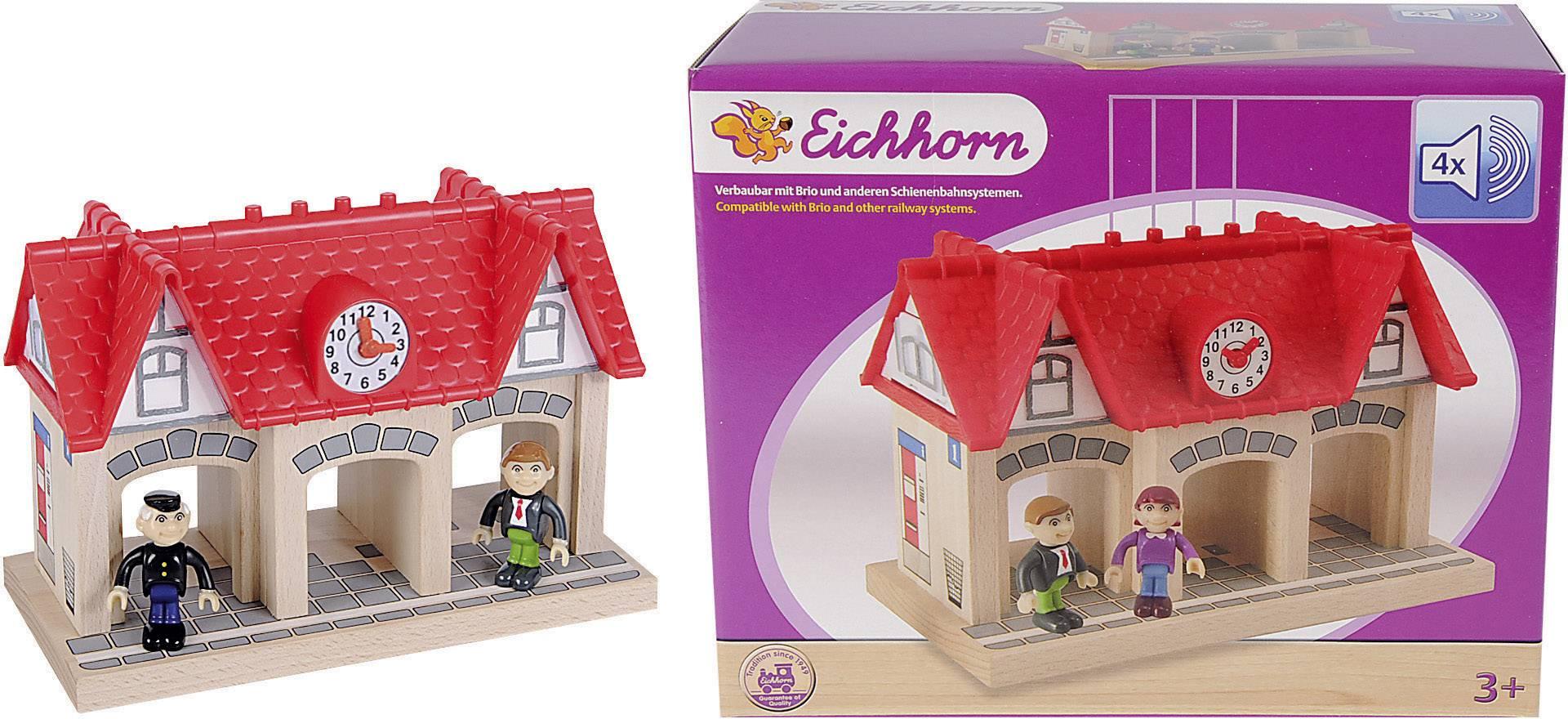 Dřevěné vláčky Eichhorn 100001514, nádraží se zvukem