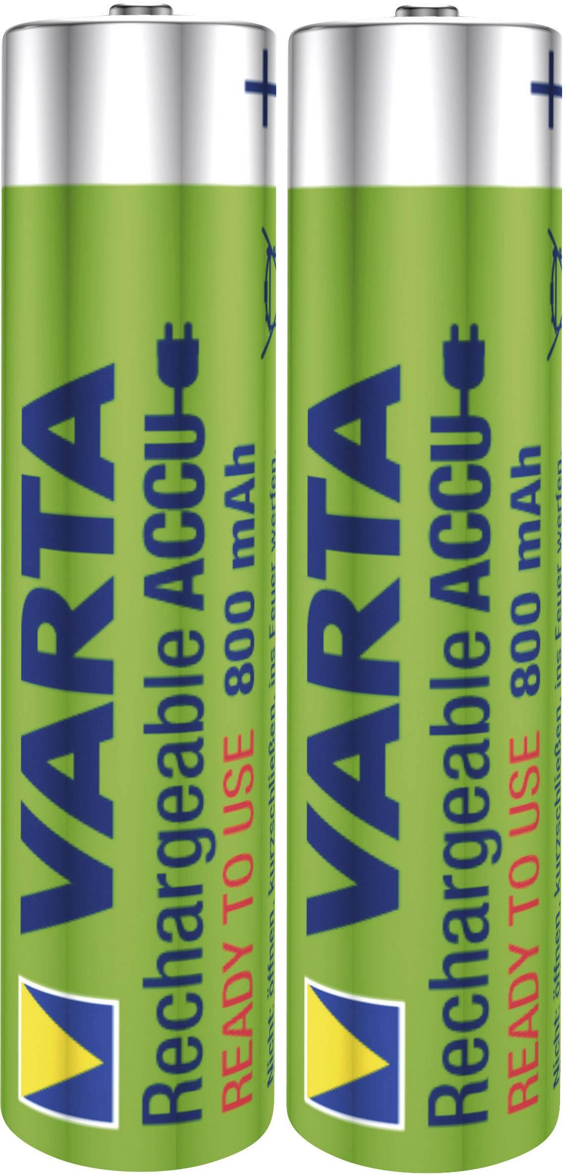 Mikrotužkový akumulátor typu AAA NiMH Varta Toy-Akku HR03 56783101402, 800 mAh, 1.2 V, 2 ks
