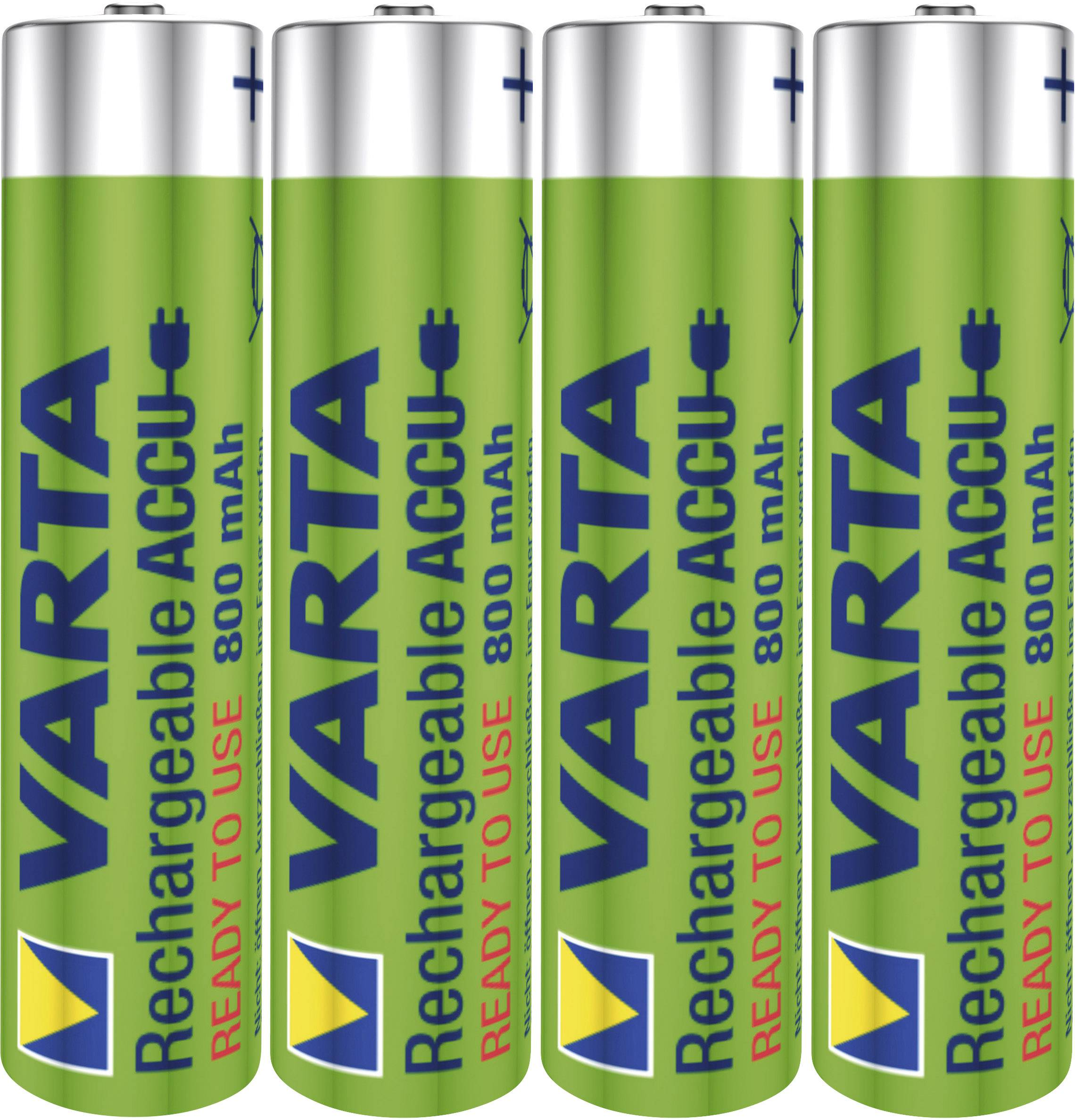 Mikrotužkový akumulátor typu AAA NiMH Varta Toy-Akku HR03 56783101404, 800 mAh, 1.2 V, 4 ks
