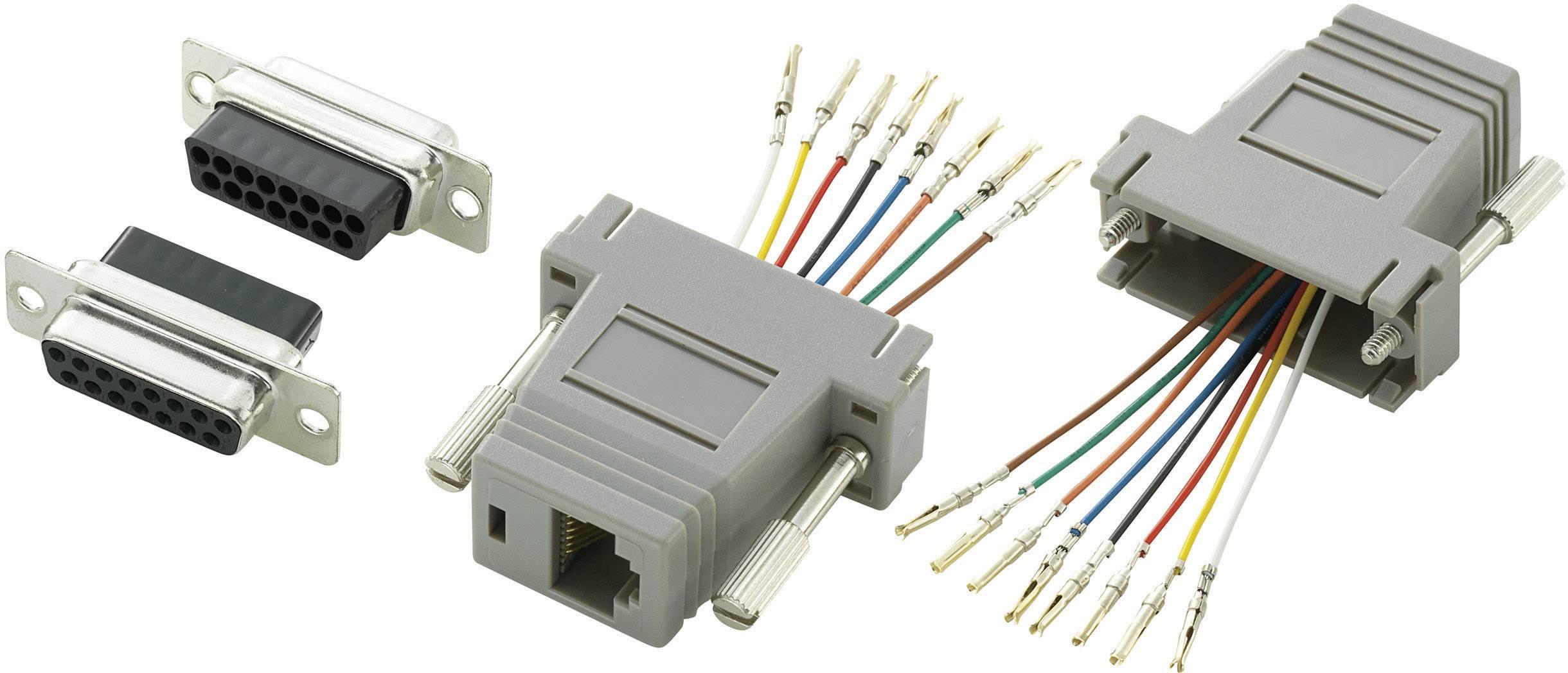 D-SUB adaptér TRU COMPONENTS 407778 D-SUB zásuvka 15pólová - RJ45 zásuvka, 1 ks