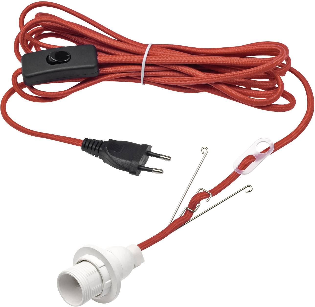 Pripojovací kábel s objímkou a spínačom Konstsmide 2998-550, 230 V, 5 m, červená
