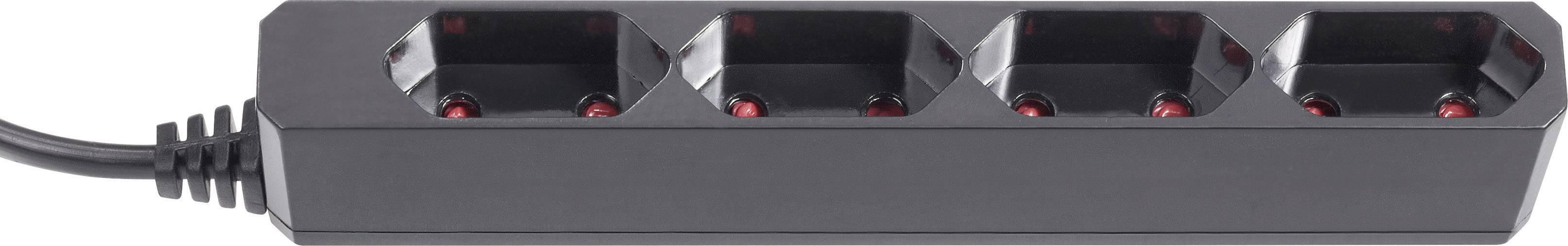 Zásuvková lišta (euro), 4 zásuvky, 1.5m kábel, čierna