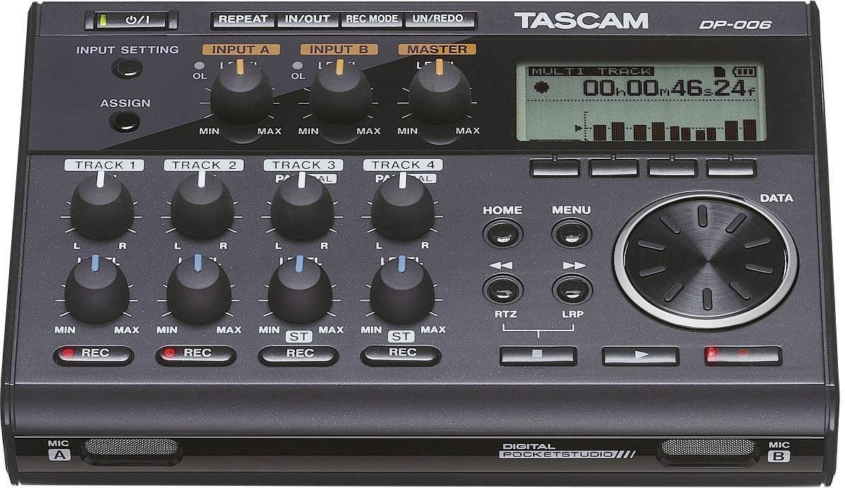 Audio rekordér Tascam DP-006, čierna