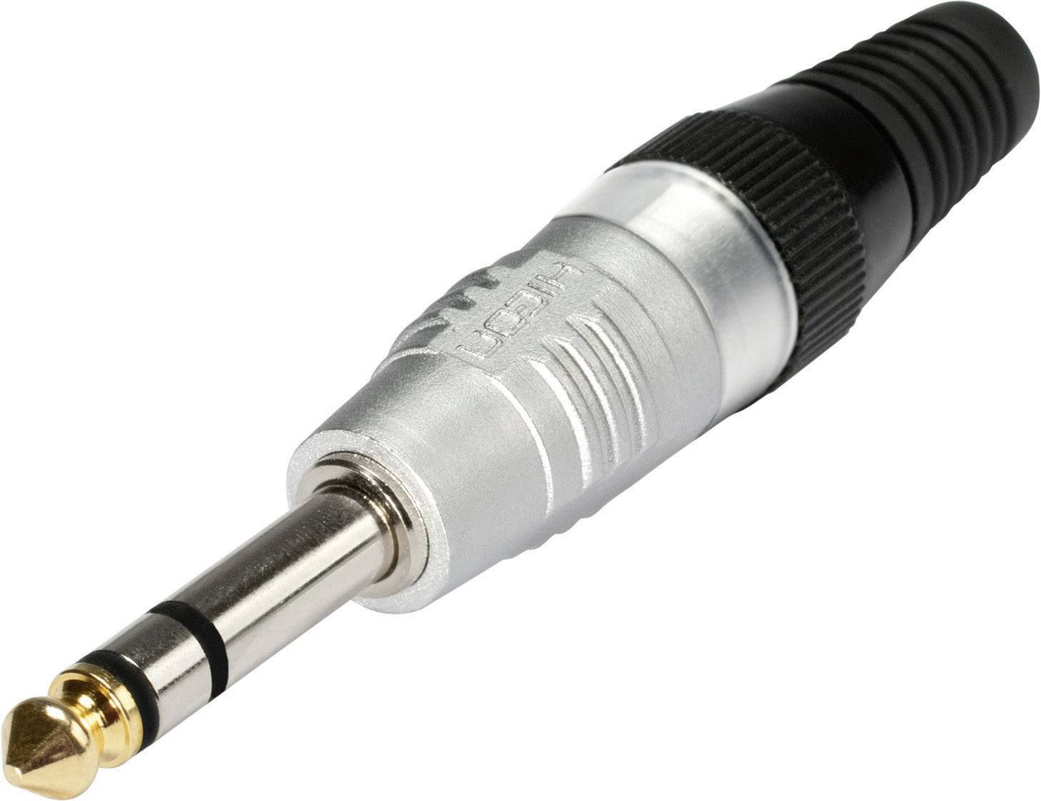 Jack konektor 6,35 mm stereo Hicon HI-J63S, zástrčka rovná, 3pól., stříbrná