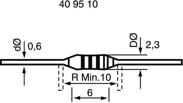 Uhlíkový rezistor 1 MOhm, axiálne vývody, 0207, 0.25 W, 1 ks