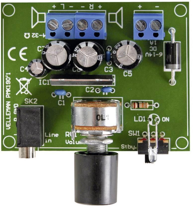 Zosilňovač pre MP3 prehrávač stavebnica Velleman MK190, 6 V/DC, 9 V/DC, 12 V/DC