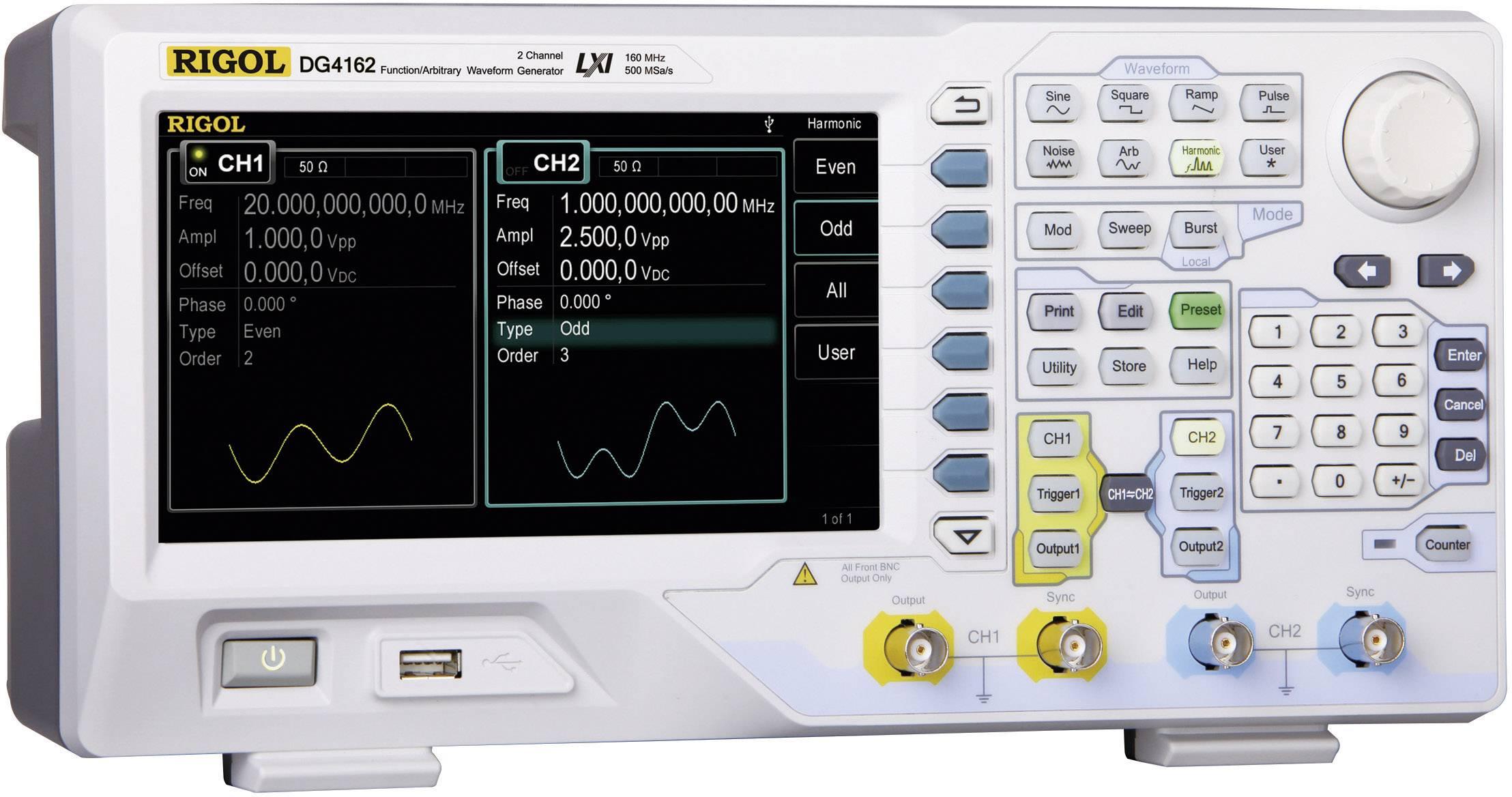 Arbitrárny generátor funkcií Rigol DG4162, 1 μHz - 160 MHz