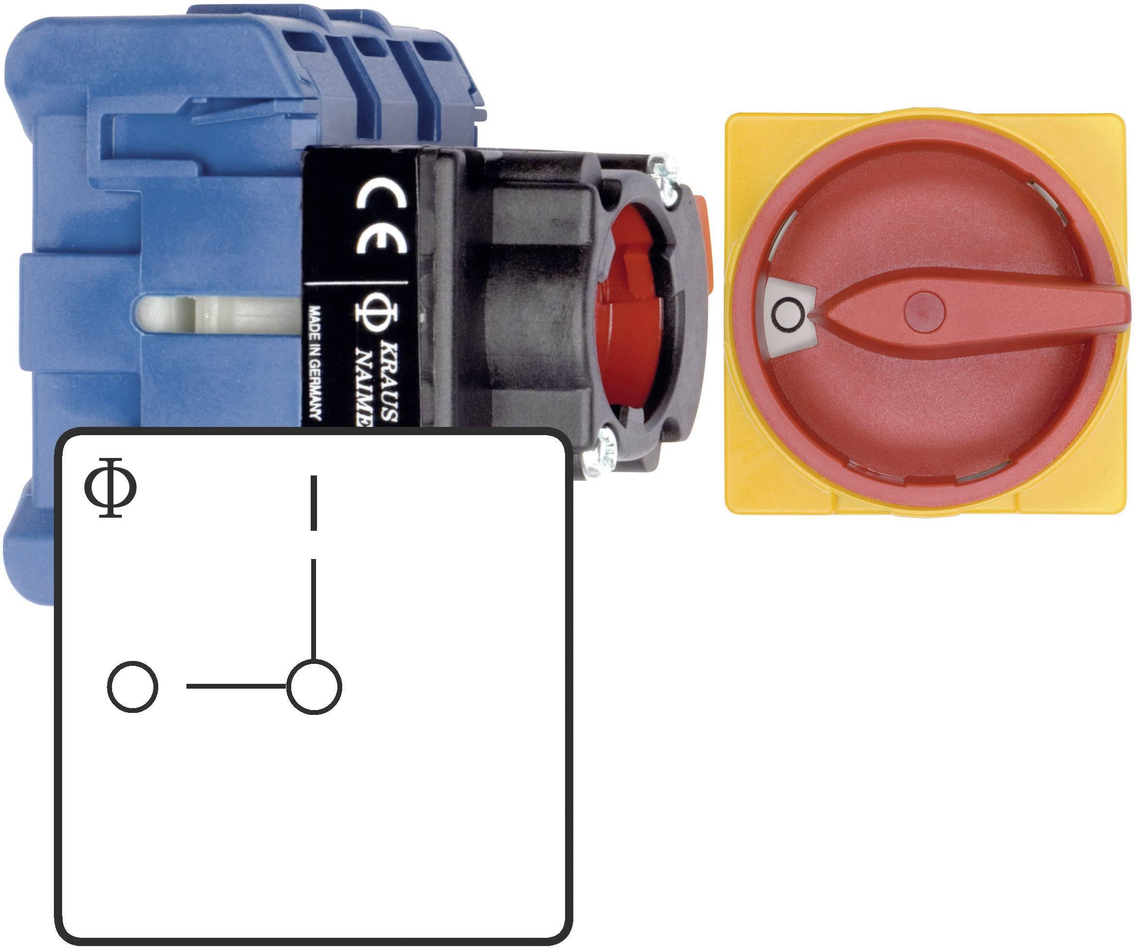Odpínač Kraus & Naimer KG32B T203/01 FT2, 32 A, 1 x 90 °, červená, žlutá, 1 ks