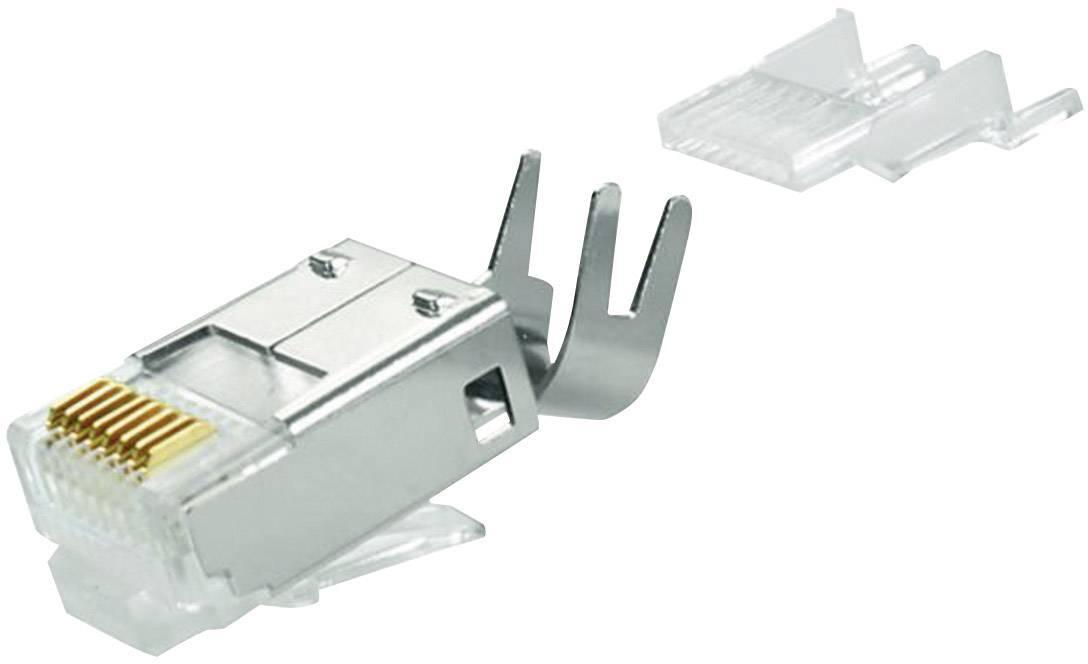 Konektor RJ45 Telegärtner J00026A0165, zástrčka rovná, AWG AWG27/1-24/1), stříbrná
