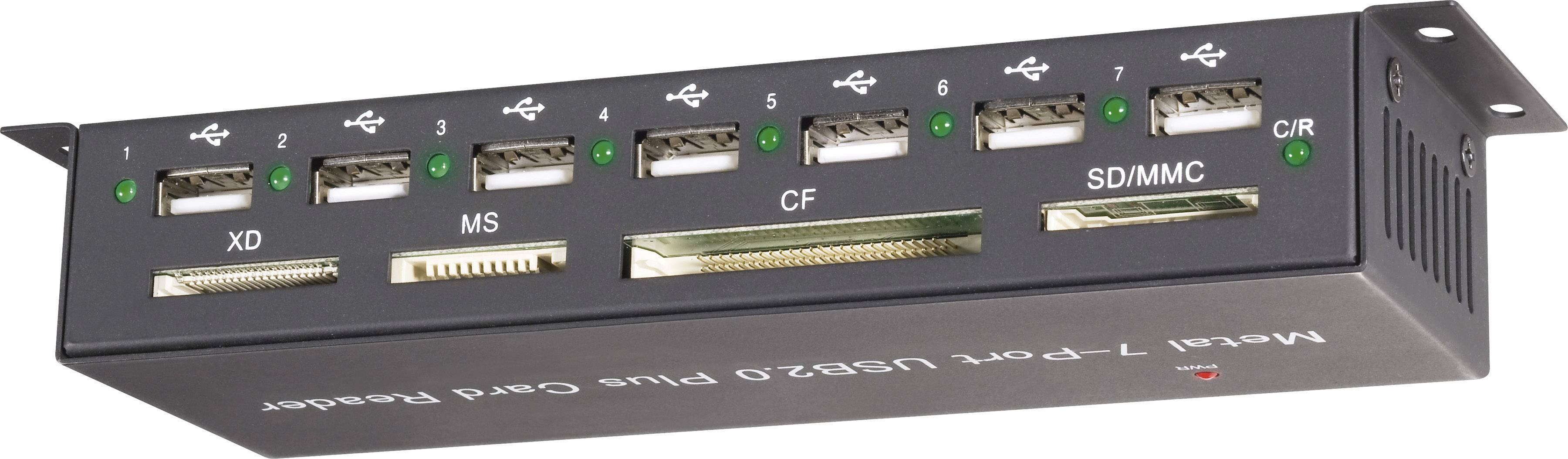 Externá čítačka pamäťových kariet/USB hub Renkforce CR09e-Hub, USB 2.0, čierna