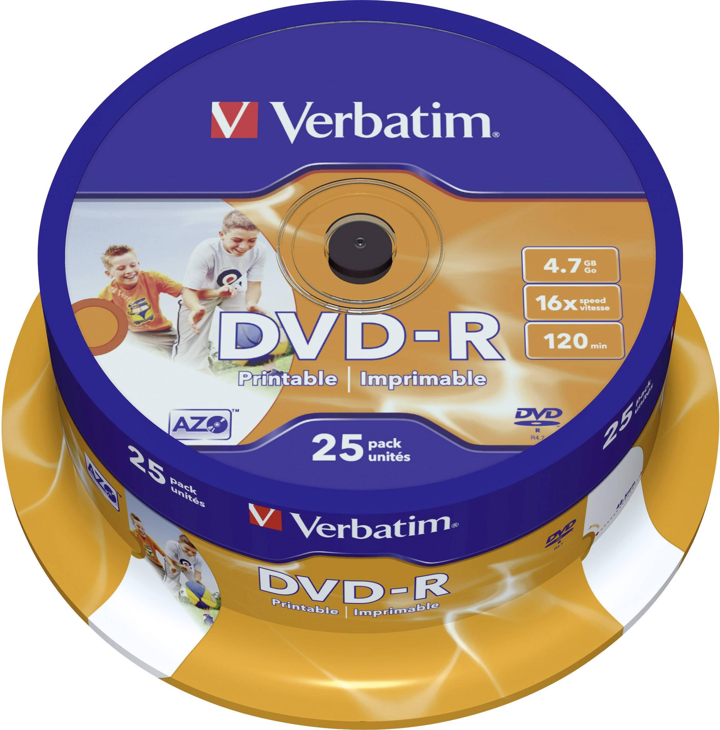 DVD-R 4.7 GB Verbatim 43538, možnosť potlače, 25 ks, vreteno