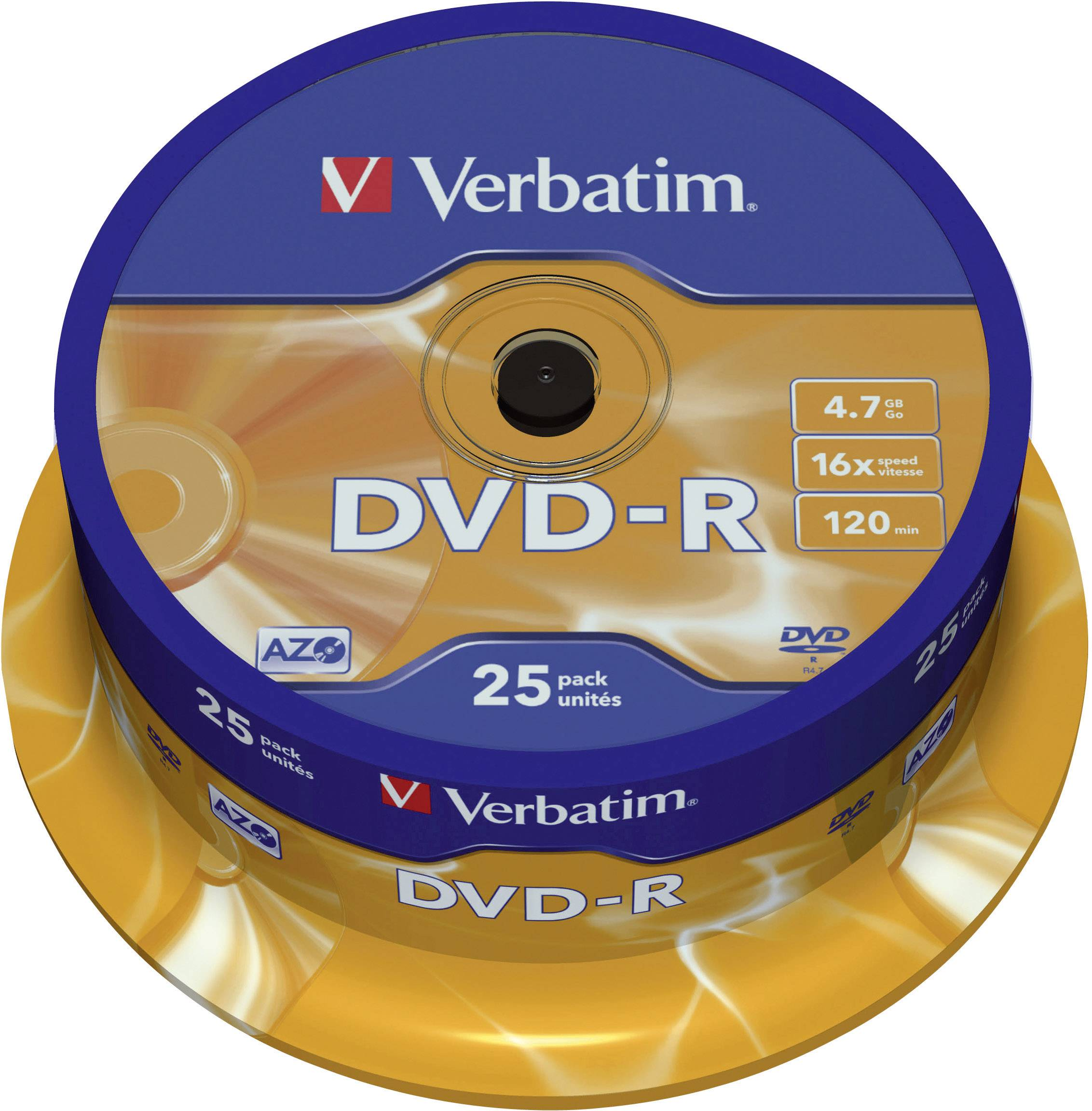 DVD-R 4.7 GB Verbatim 43522, vrstva proti poškriabaniu, 25 ks, vreteno