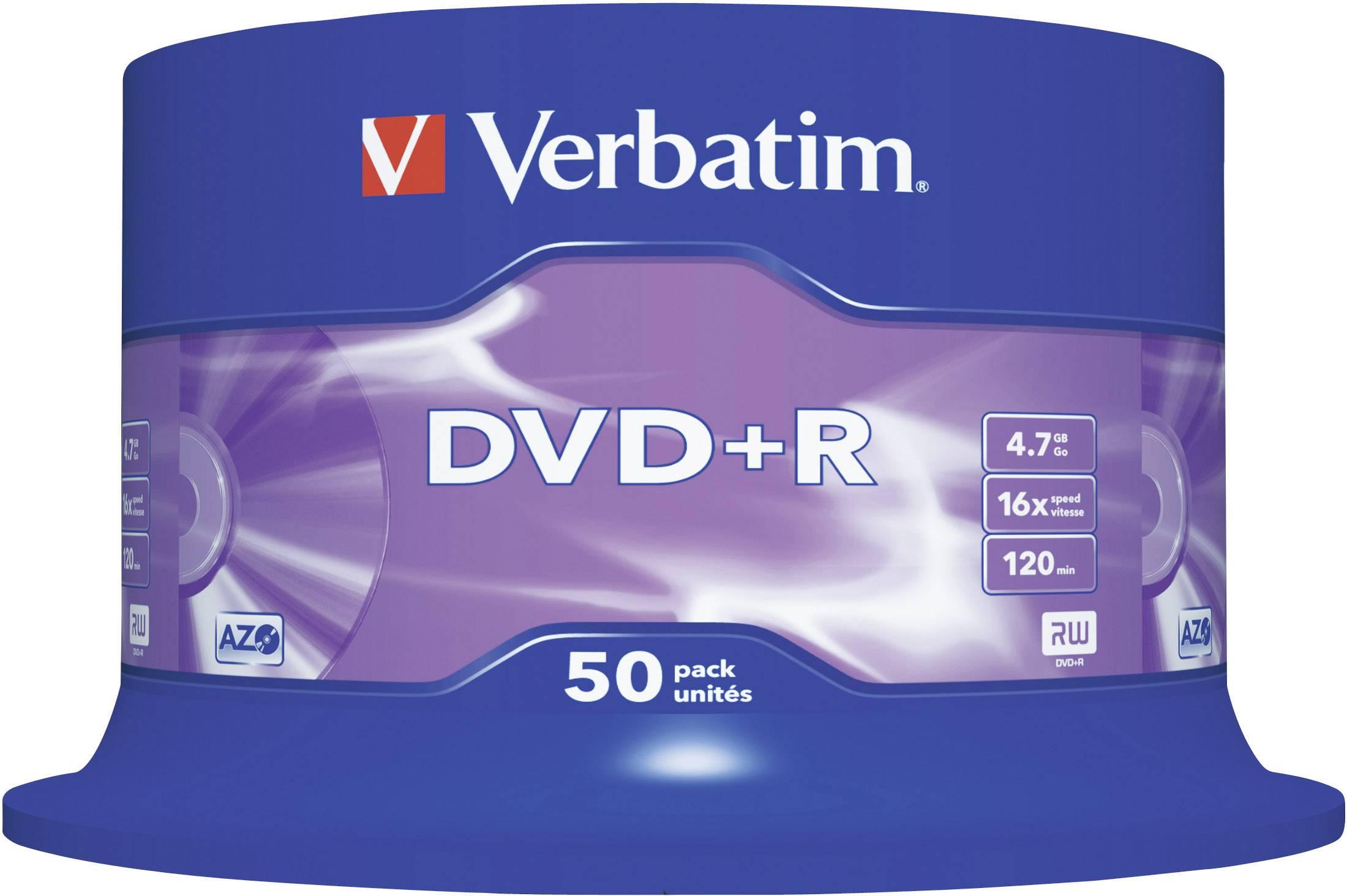 DVD+R 4.7 GB Verbatim 43550, 50 ks, vreteno