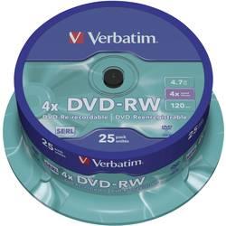 DVD-RW 4.7 GB Verbatim 43639, prepisovateľné, 25 ks, vreteno