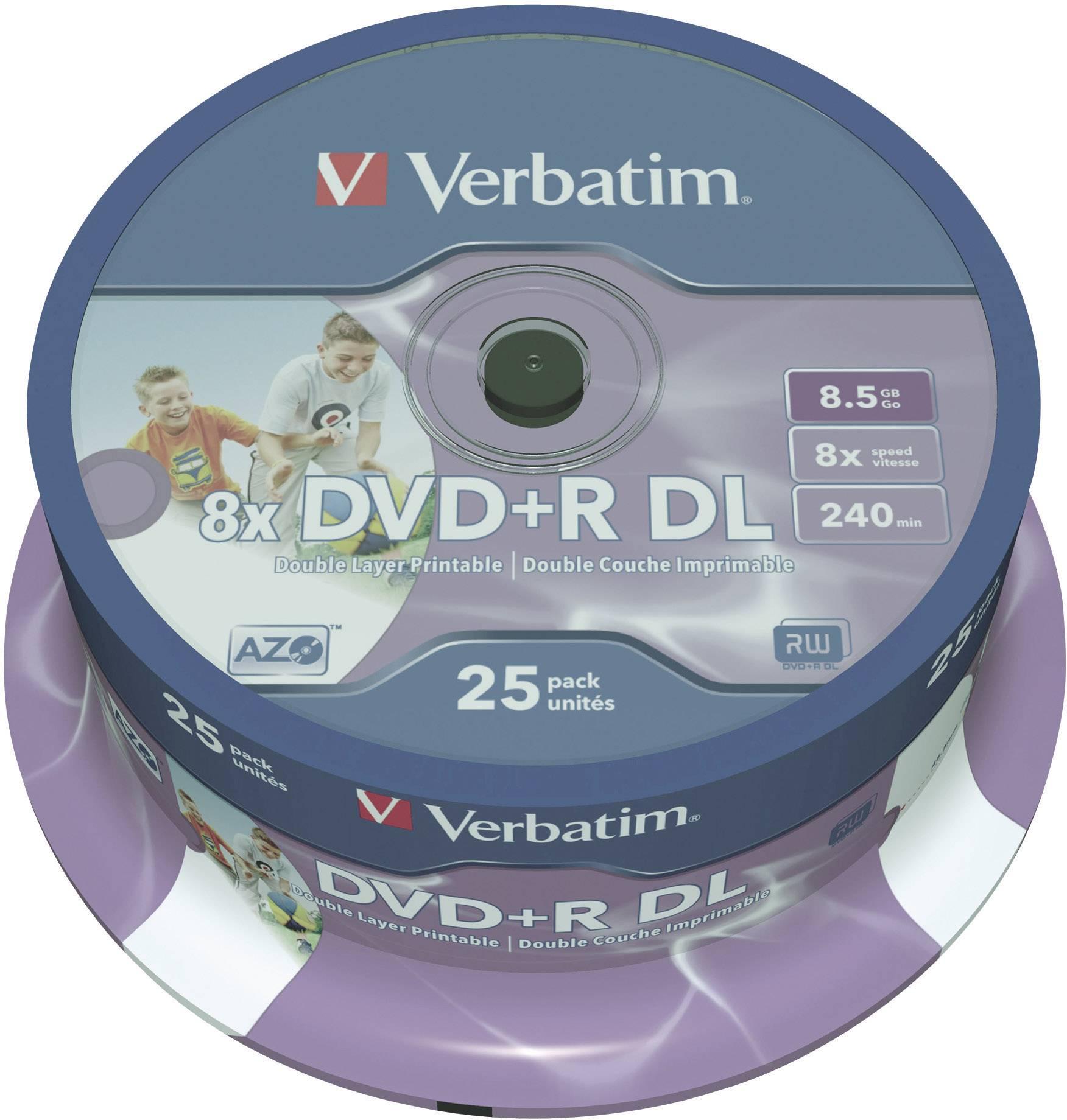 DVD+R DL 8.5 GB Verbatim 43667, možnosť potlače, 25 ks, vreteno