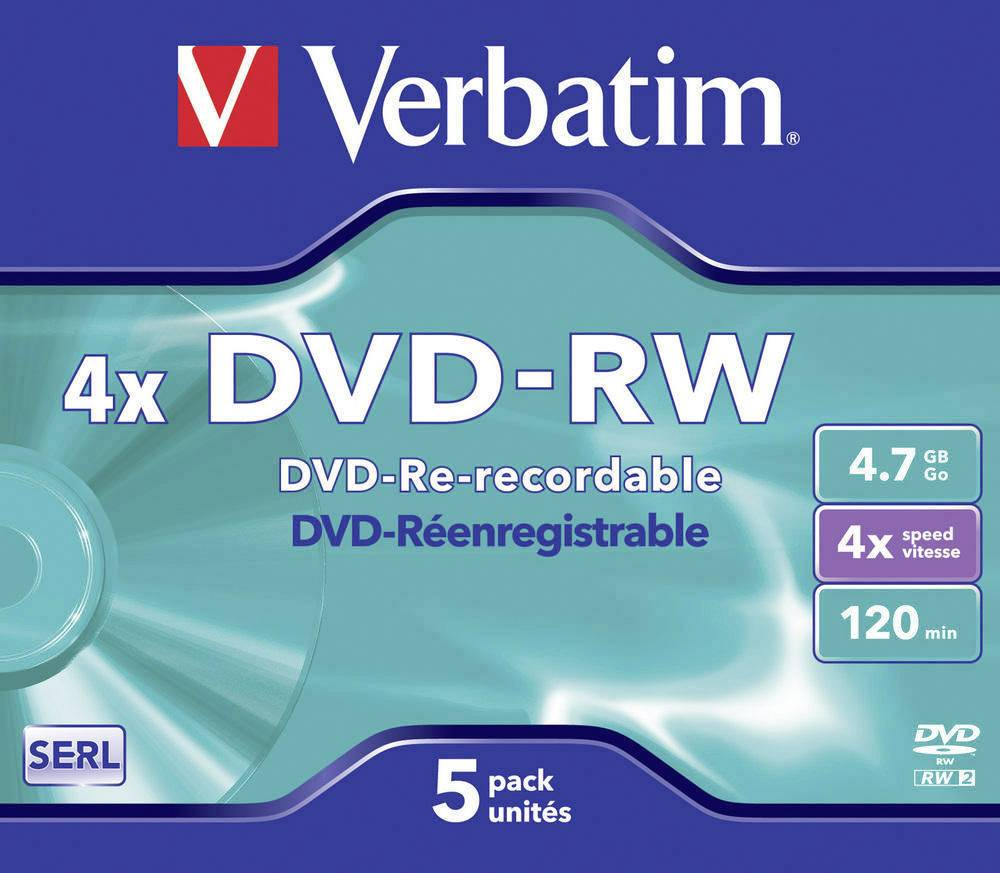 DVD-RW 4.7 GB Verbatim 43285, přepisovatelné, 5 ks, Jewelcase