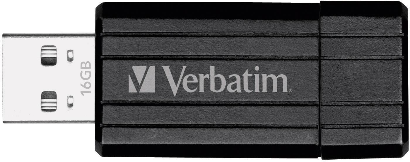 USB flash disk Verbatim Pin Stripe 16 GB, USB 2.0, čierna