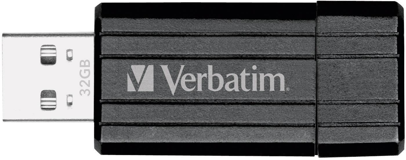 USB flash disk Verbatim Pin Stripe 49064, 32 GB, USB 2.0, čierna