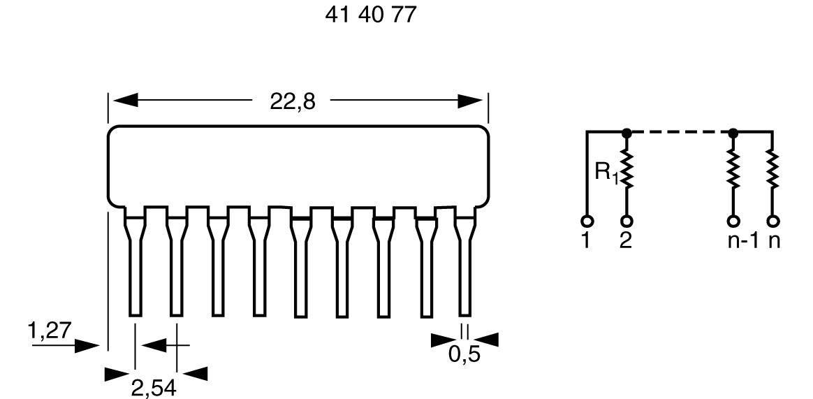 Odporová sieť SIP 8+1, 0,125 W, 2K2