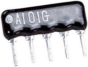 Rezistor radiálne vývody TRU COMPONENTS 1557357, SIP-4 + 1, 10 kOhm, 0.125 W, 1 ks