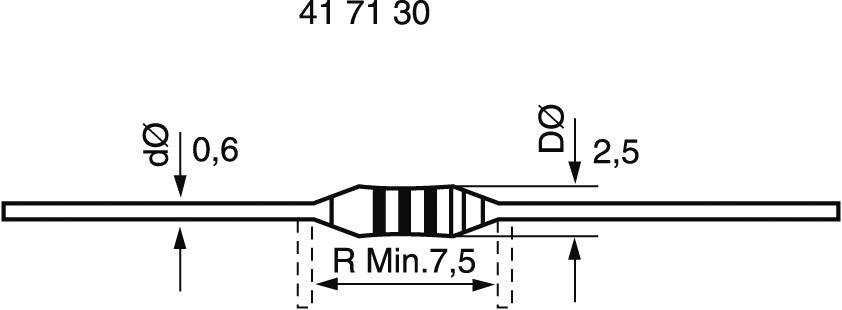 Metalizovaný rezistor, 0,82 Ω , 5 %, 0207, axiální vývody, 0,6 W