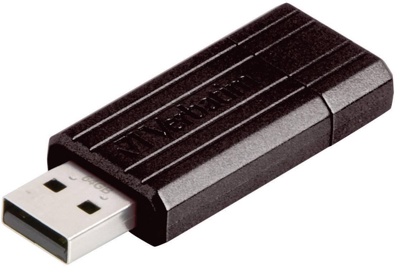 USB flash disk Verbatim Pin Stripe 64 GB, USB 2.0, čierna