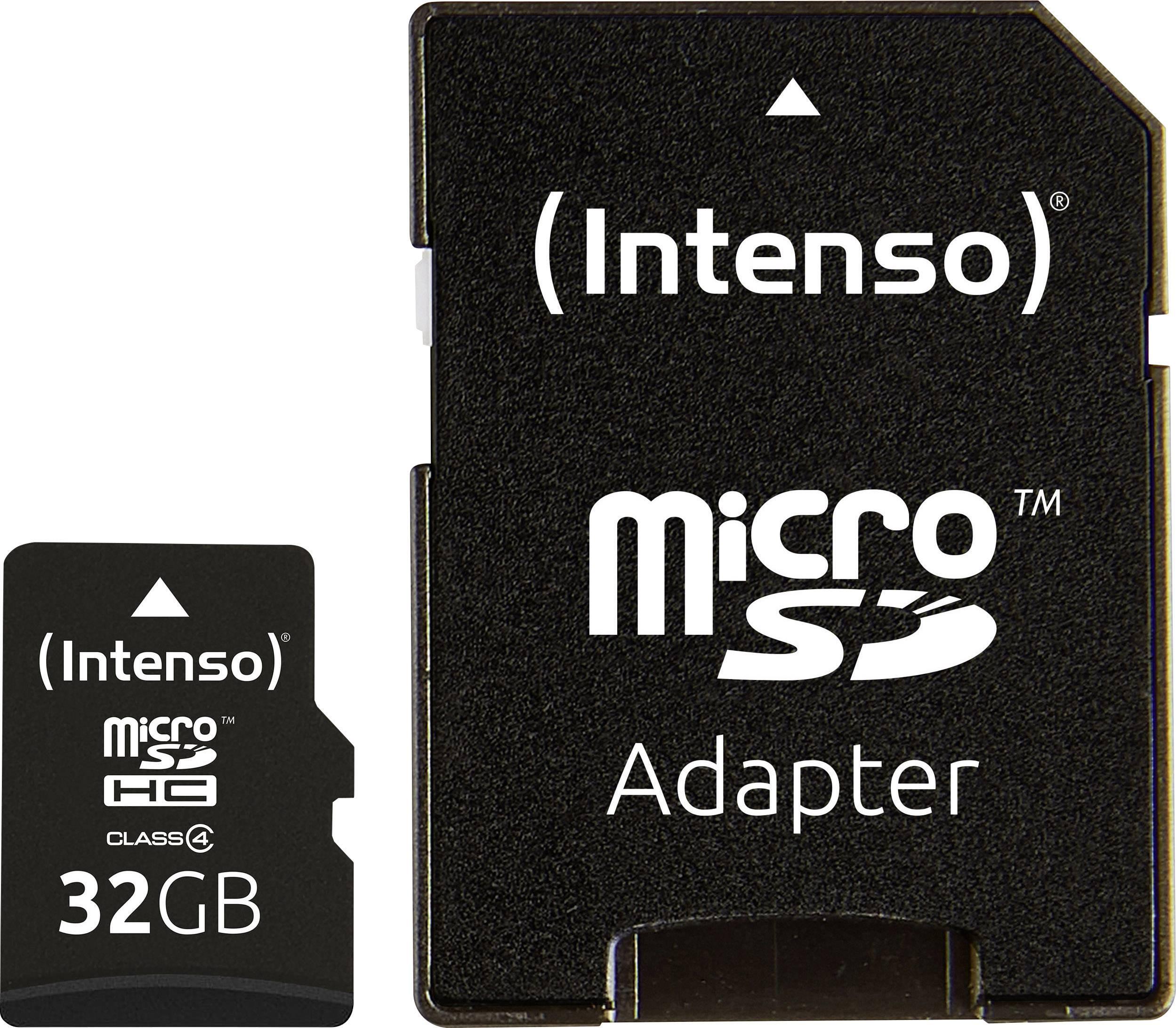 Pamäťová karta micro SDHC, 32 GB, Intenso 32 GB Micro SDHC-Card, Class 4, vr. SD adaptéru