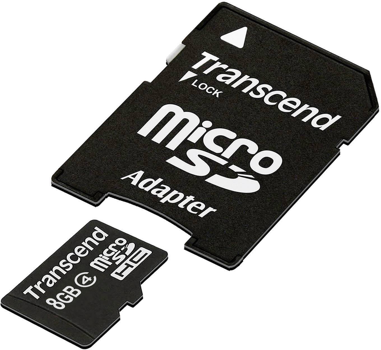 Paměťová karta Micro SDHC 8 GB Transcend Standardní Class 4 vč. SD adaptéru