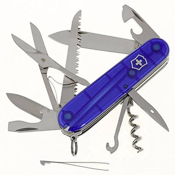 Švajčiarsky vreckový nožík Victorinox Huntsman 1.3713.T2, počet funkcií 15, modrá (transparentná)