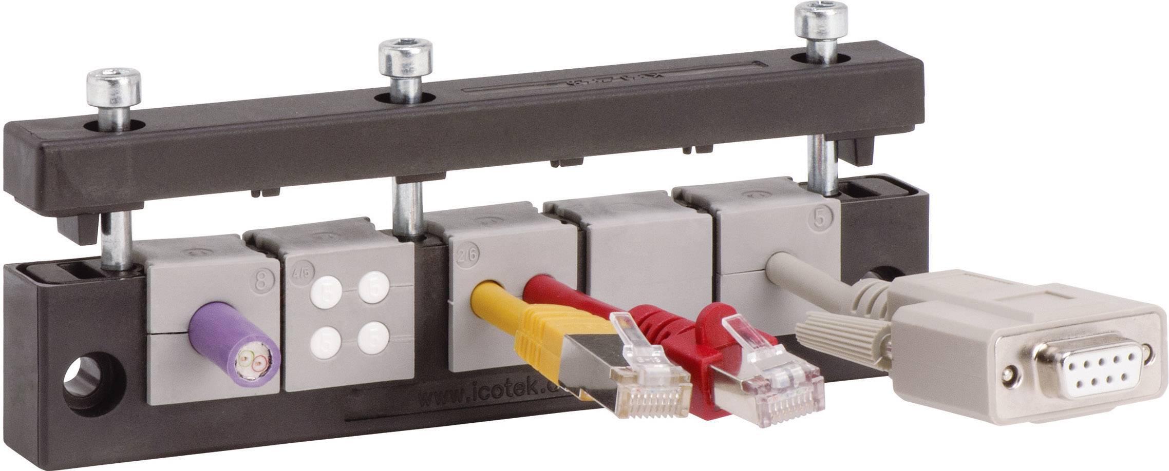 Lišta pre zavádzanie káblov Icotek KEL-E5, Ø 17 mm, IP54, polyamid, čierna, 1 ks