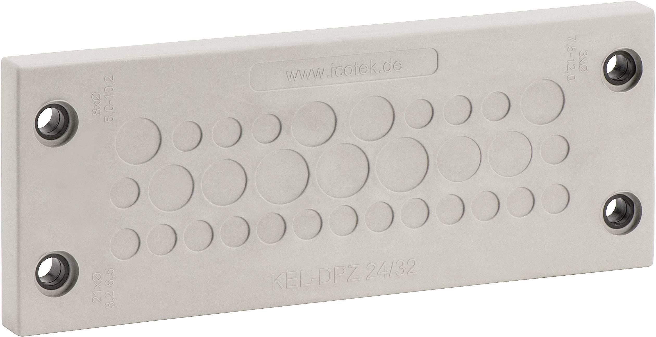 Doštička pre káblové priechodky Icotek KEL-DPZ 24/32, Ø 10.2 mm, IP65, polyamid, elastomér, sivá, čierna, 1 ks