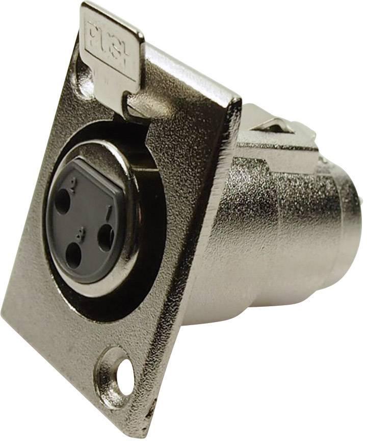 XLR konektor prírubová zásuvka, rovná Cliff FC6100, počet pinov: 3, strieborná, 1 ks