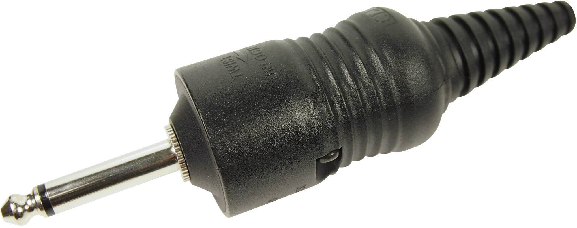 Jack konektor 6,35 mm mono Cliff CL2075, zástrčka rovná, 2pól., černá