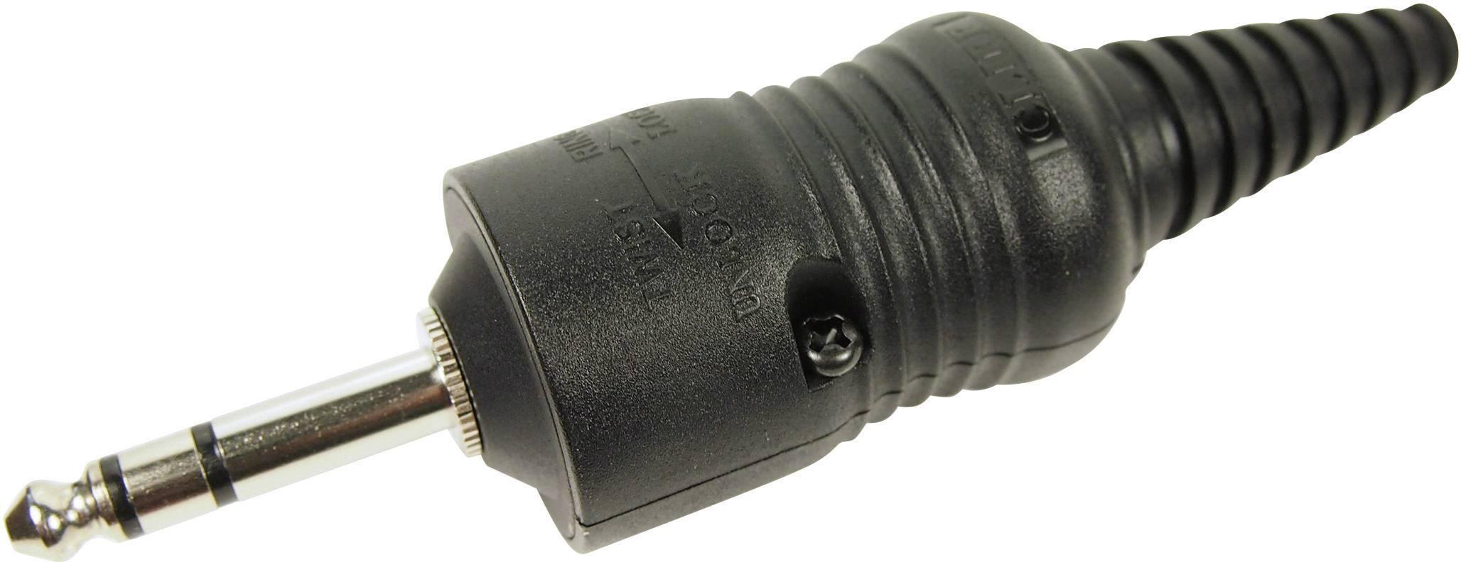 Jack konektor 6,35 mm stereo Cliff CL2075S, zástrčka rovná, 3pól., černá