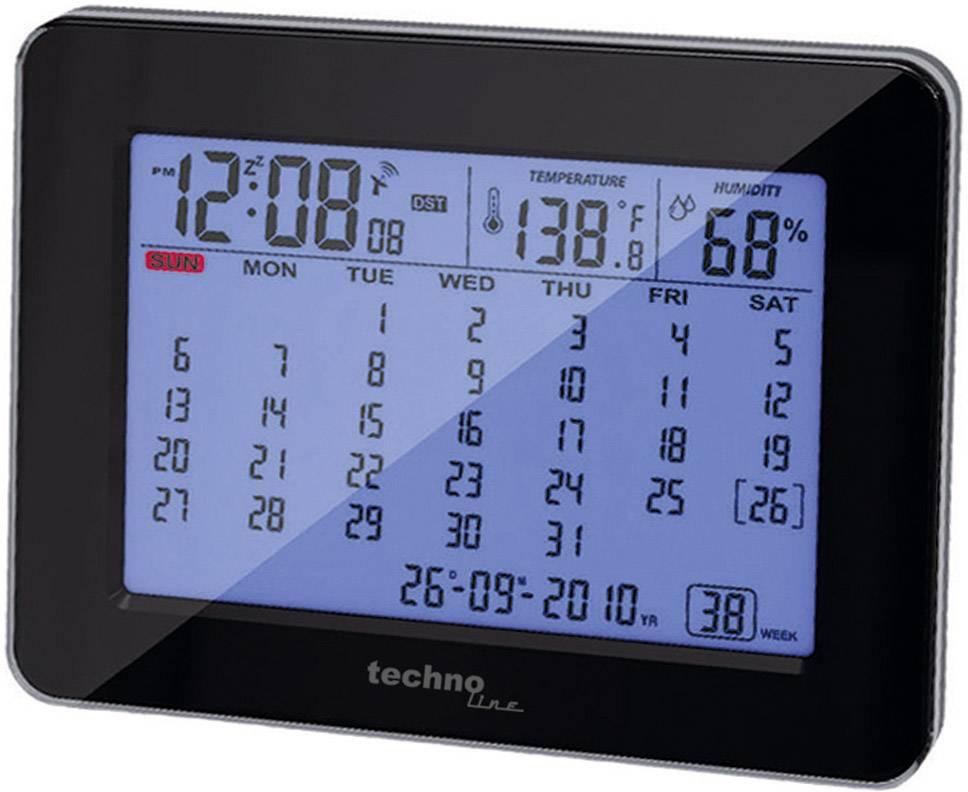 Stolní kalendář s DCF hodinami Techno Line, 190 x 120 x 57 mm, černá