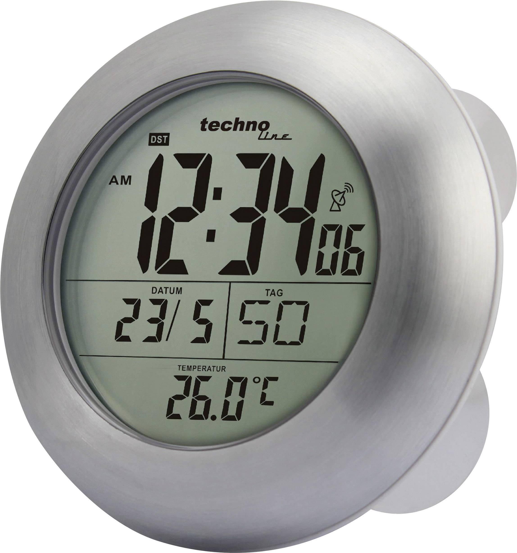 DCF hodiny do kúpeľne Techno Line WT 3000, strieborné