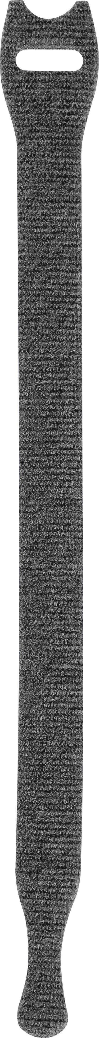 Stahovací páska se suchým zipem TOOLCRAFT KL12X200SC, černá, 200 x 12 mm, černá