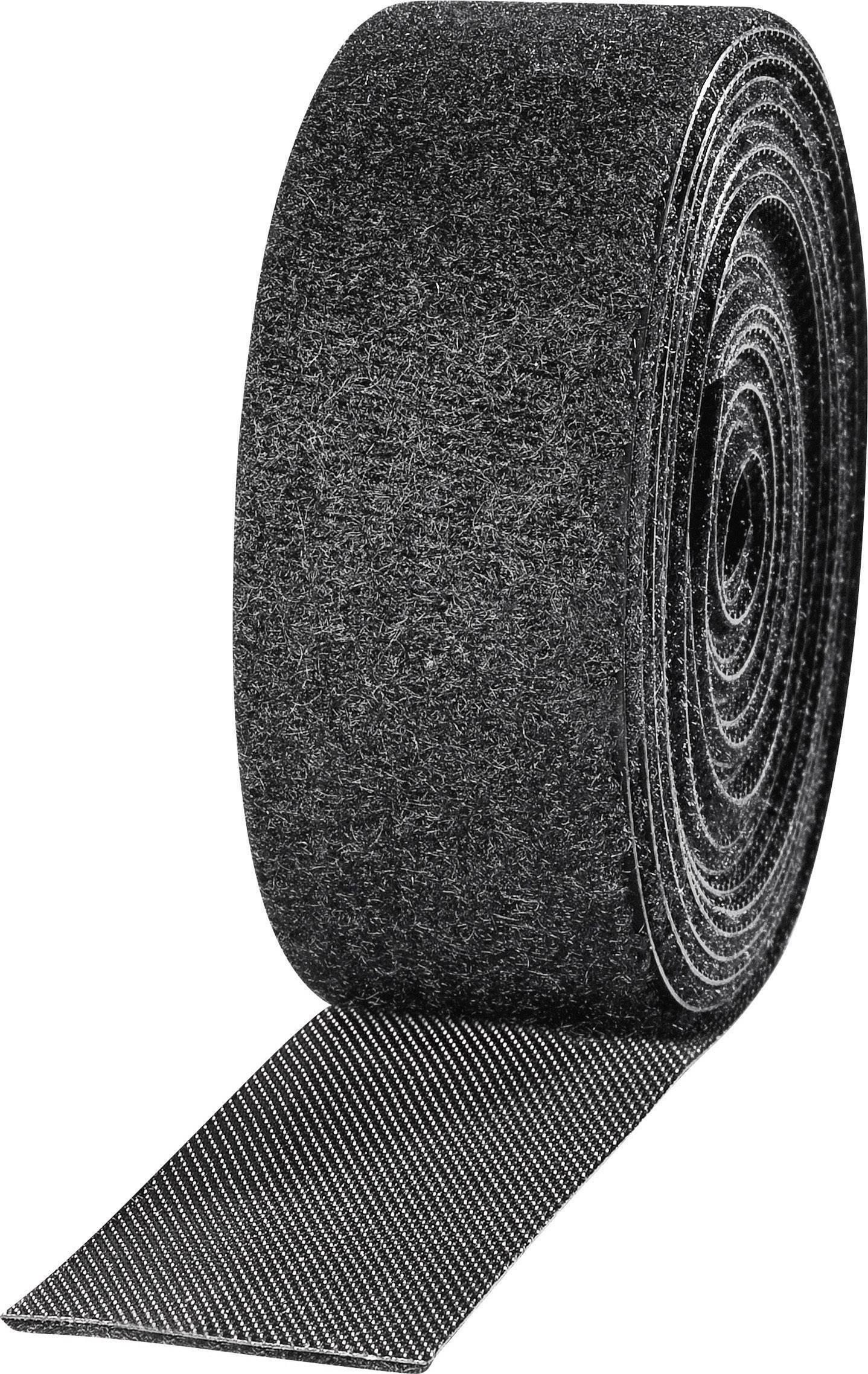 Pásik so suchým zipsom TOOLCRAFT KL25X2500C, (d x š) 2500 mm x 25 mm, čierna, 2 roliek