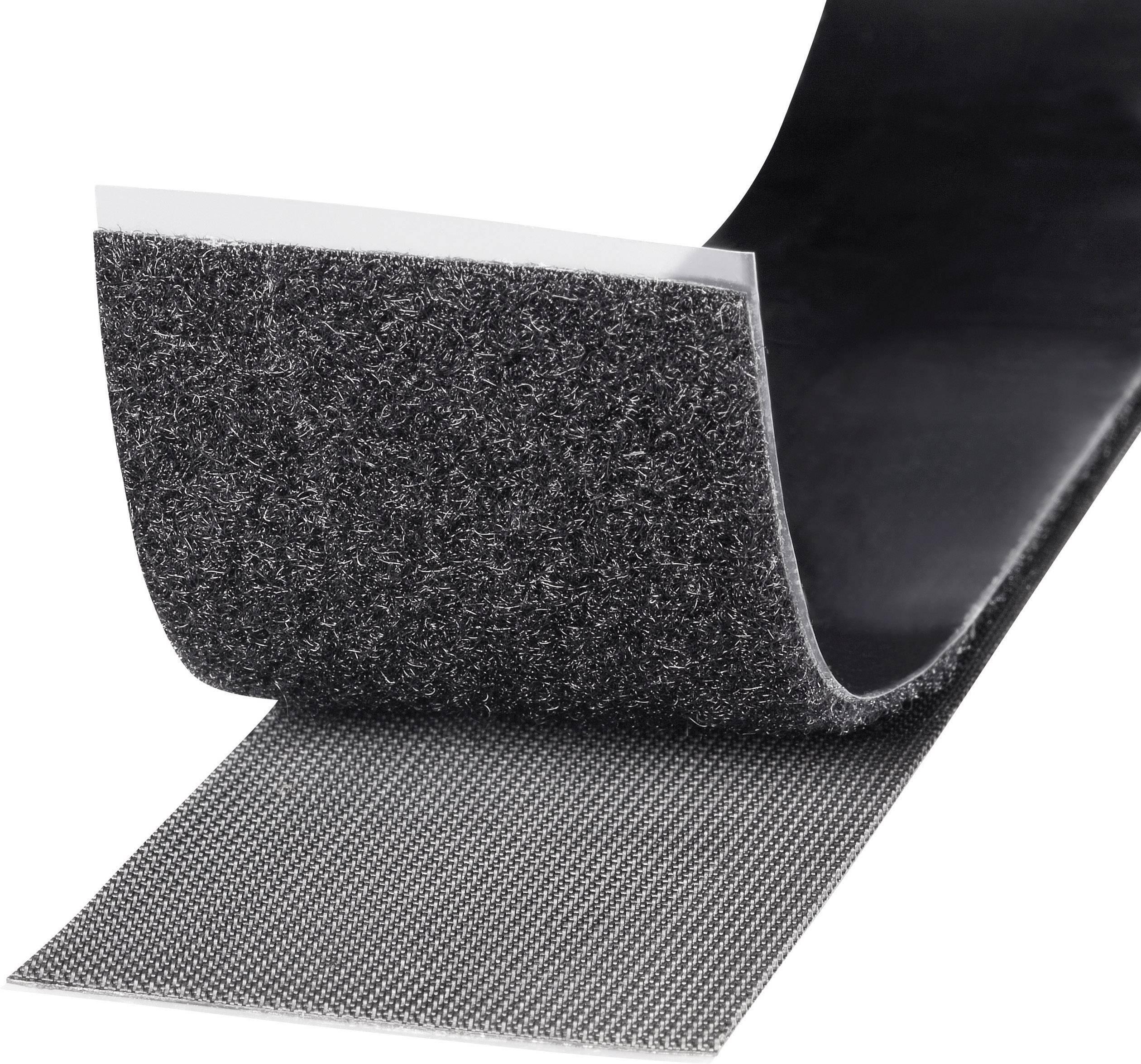Samolepicí páska se suchým zipem TOOLCRAFT KL50X1000C, 1 m x 50 mm, černá, 1 role