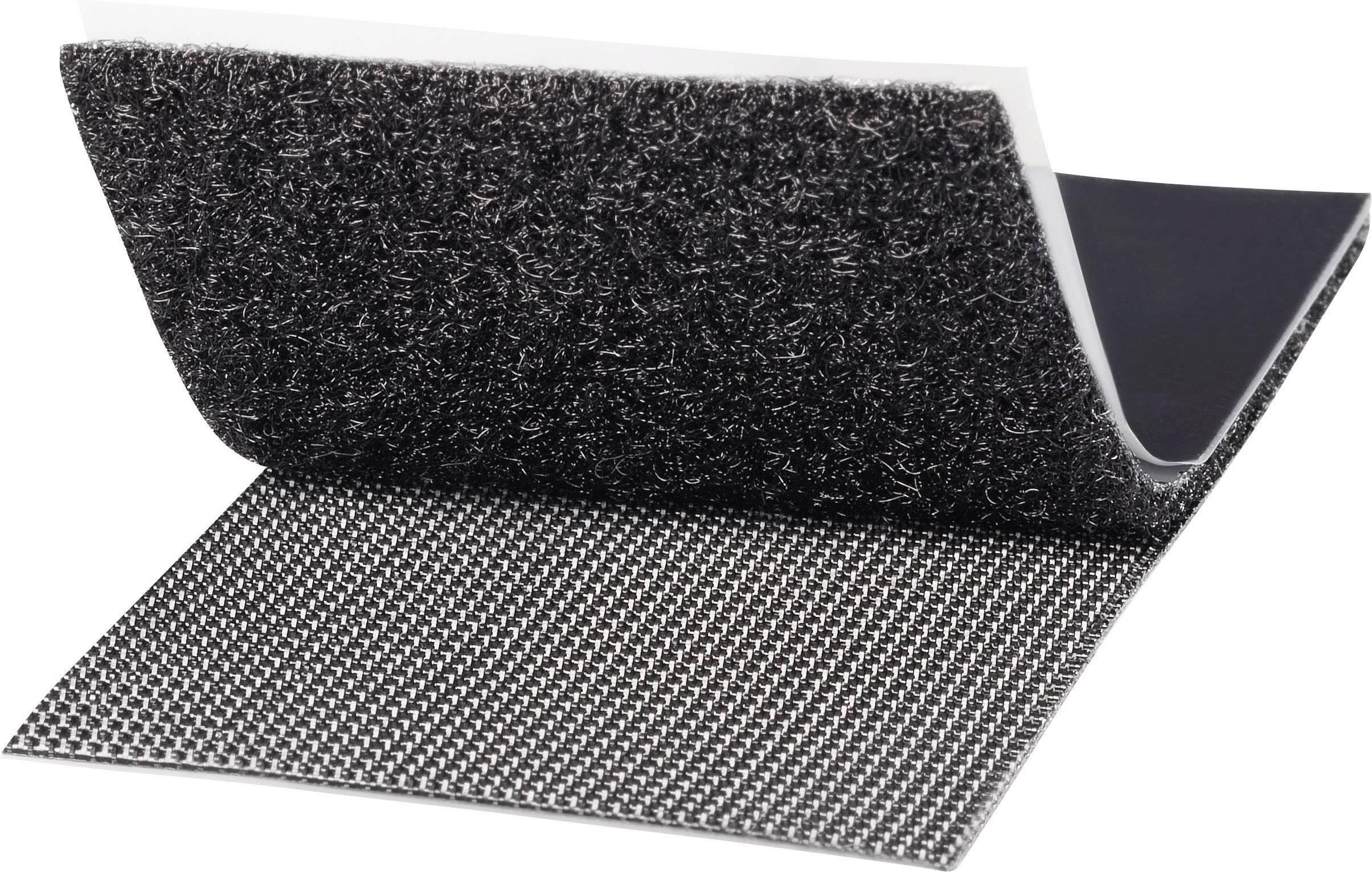 Samolepicí páska se suchým zipem TOOLCRAFT KL50X100SC, 100 mm x 50 mm, černá, 1 pár