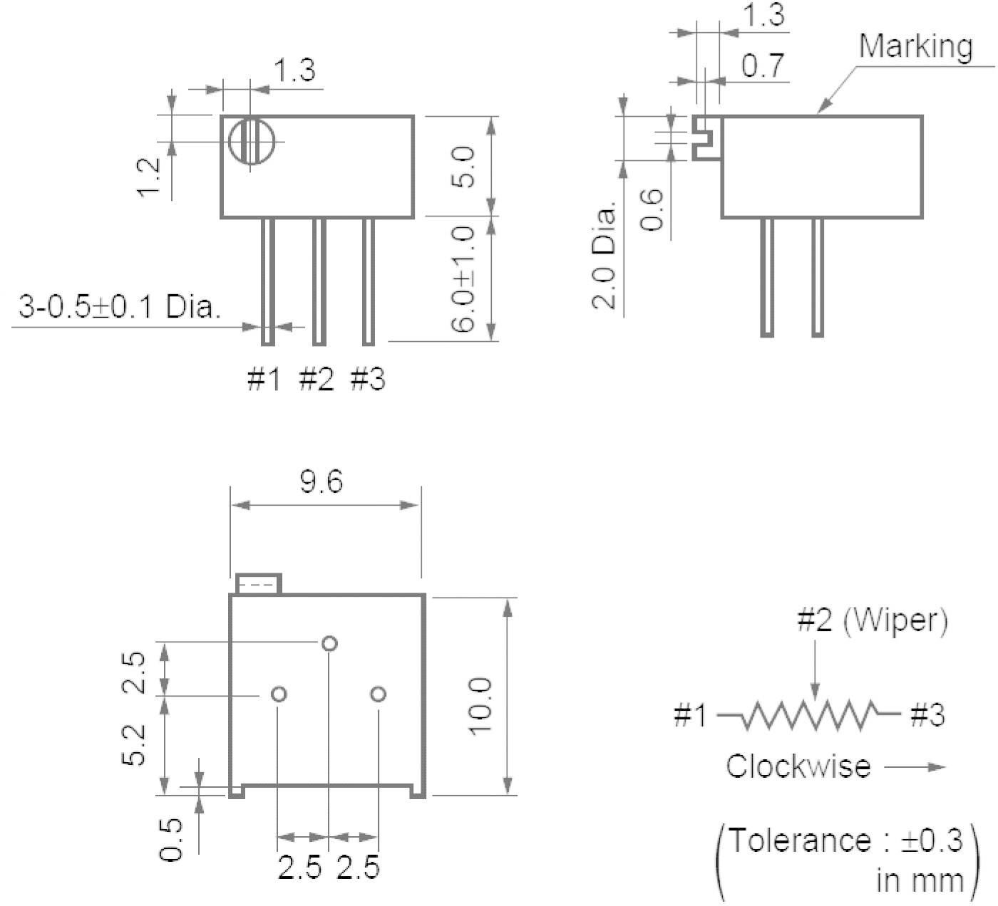 Cermetový trimer Murata PV36P502C01B00, lineárny, 5 kOhm, 0.5 W, 1 ks