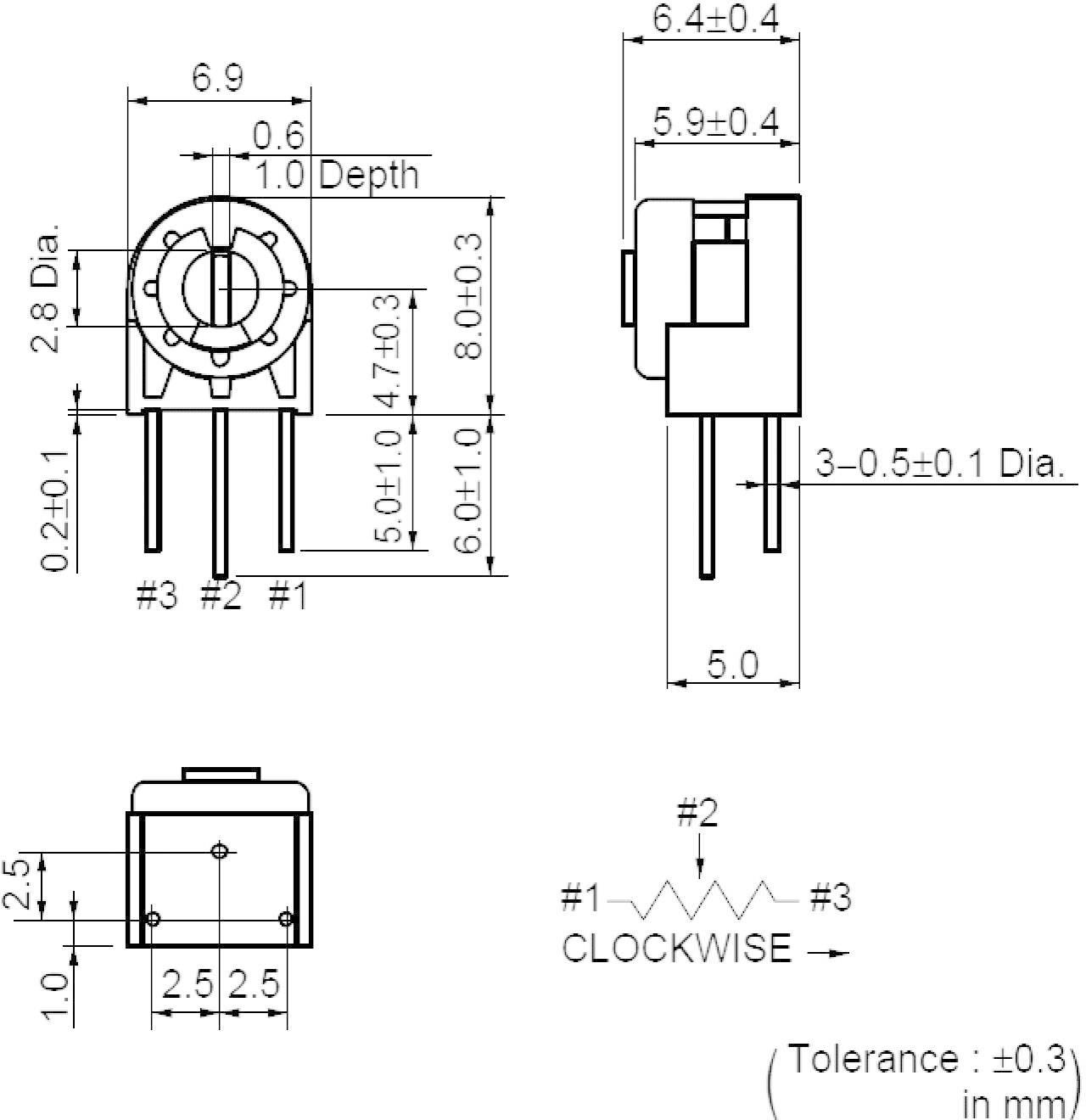 Odporový trimr Murata Cermet, PV32N103A01B00, 10 kΩ, 0,5 W, ± 20 %