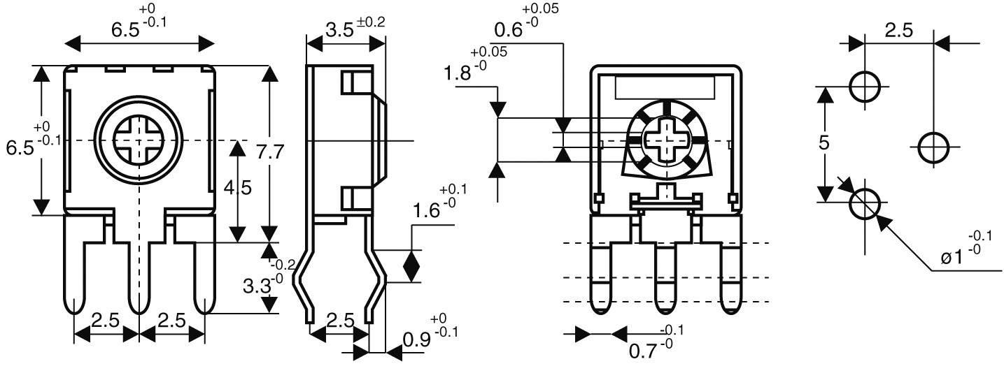 Trimer CA6 H, lineárny, 250 Ohm, 0.1 W, 1 ks